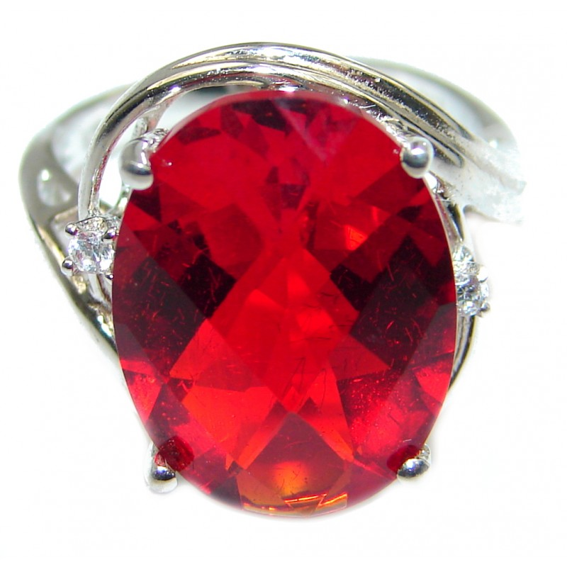 Authentic Red Helenite .925 Sterling Silver ring s. 6