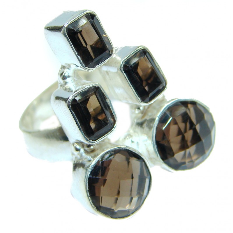 Bold Champagne Smoky Topaz .925 Sterling Silver Ring size 9