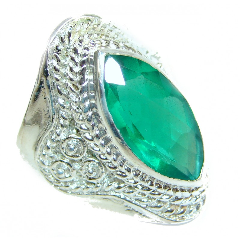 Incredible Green Quartz .925 Sterling Silver Ring s. 8