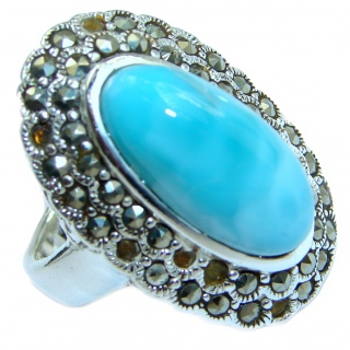 Royal Beauty Natural Larimar .925 Sterling Silver handcrafted Ring s. 8
