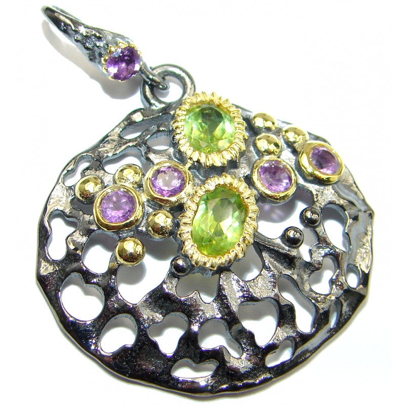 Pure Joy Amethyst Peridot 14K Gold over .925 Sterling Silver handcrafted Pendant