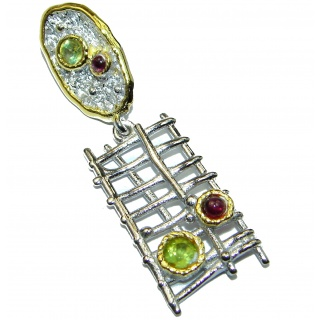Perfect Natural Peridot Garnet .925 Sterling Silver handcrafted Pendant