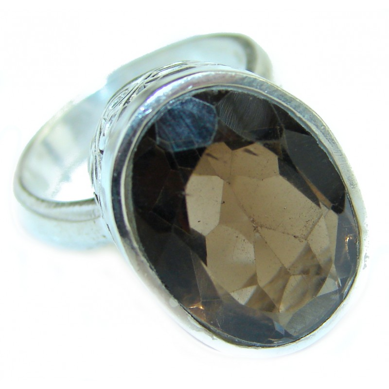 Bold Champagne Smoky Topaz .925 Sterling Silver Ring size 6 3/4