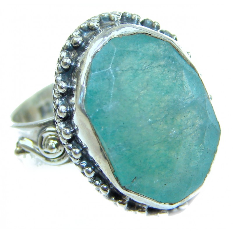 Green Jade Sterling Silver ring s. 6