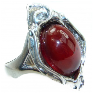 Genuine Garnet .925 Sterling Silver handmade Ring s. 7 adjustable