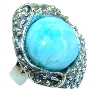 Natural Larimar .925 Sterling Silver handcrafted Ring s. 7 adjustable