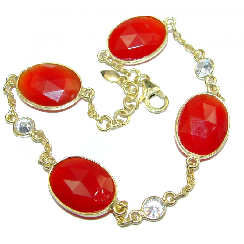 Sunset in Tucson Authentic Carnelian .925 Sterling Silver handmade Bracelet