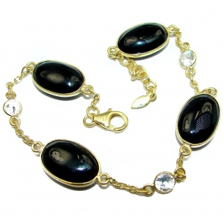 Flawless natural Onyx Gold over .925 Sterling Silver handcrafted Bracelet