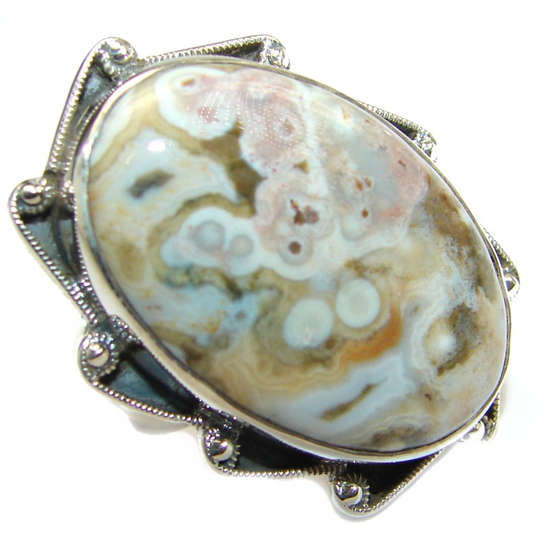 Ocean Jasper .925 Sterling Silver handmade Cocktail Ring s. 9 1/ 4