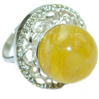 Huge Genuine Butterscotch Baltic Polish Amber .925 Sterling Silver handmade Ring size 8 1/2