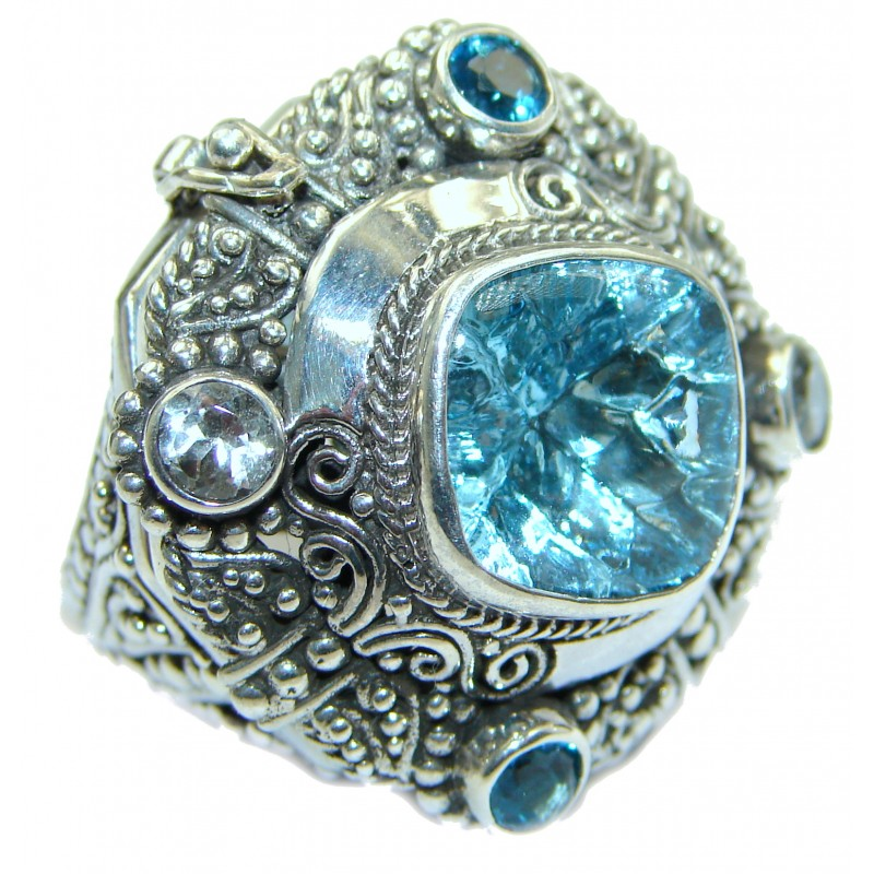 Energazing Swiss Blue Topaz .925 Sterling Silver handmade Poison Ring size 7