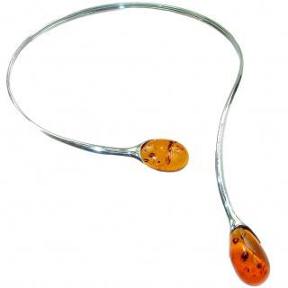 You and Me HUGE Natural Polish Amber .925 Sterling Silver handcrafted necklace