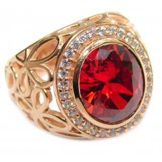 Genuine Garnet 18K Gold over .925 Sterling Silver handmade Cocktail Ring s. 7