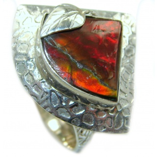 Pure Energy Genuine Canadian Ammolite .925 Sterling Silver handmade ring size 11