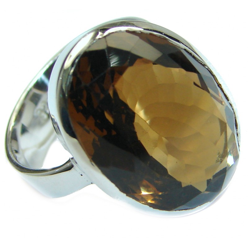 Bold Champagne Smoky Topaz .925 Sterling Silver Ring size 6 1/4