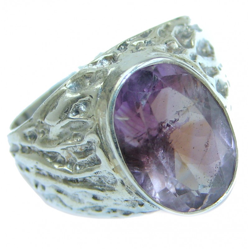 Amazing authentic Ametrine .925 Sterling Silver ring; s. 7 3/4