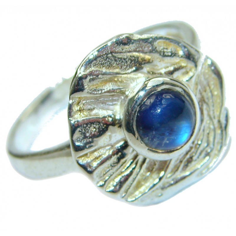 Fire Labradorite .925 Sterling Silver handmade ring size 8 1/2