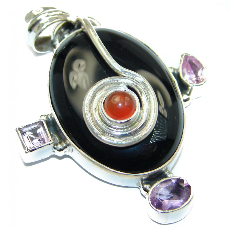 Huge quality Black Onyx .925 Sterling Silver Handmade Pendant