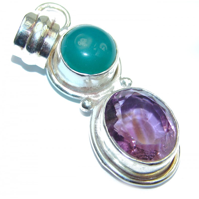 Unique Design Natural Amethyst .925 Sterling Silver handmade Pendant