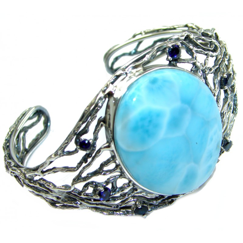 Into the Woods Larimar .925 Sterling Silver handcrafted Bracelet / Cuff