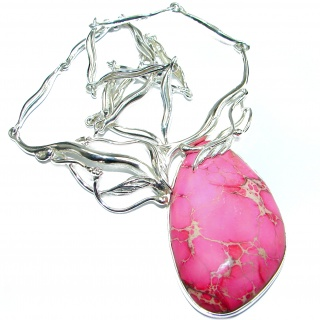 Julietta Pink Sea Sediment Jasper oxidized .925 Sterling Silver handmade necklace