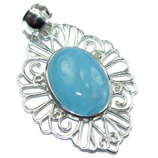 Genuine 27.5 ct Aquamarine .925 Sterling Silver handmade Pendant