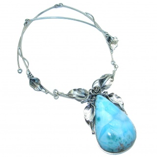 Huge Great Masterpiece genuine 195 ct Larimar .925 Sterling Silver handmade necklace