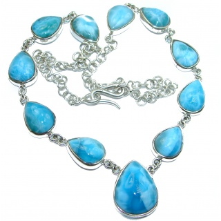 One of the kind Best quality Larimar .925 Sterling Silver handmade necklace