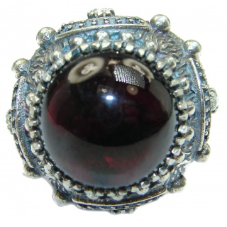 Huge Genuine Garnet Rhodium over .925 Sterling Silver handmade Ring s. 8 1/4