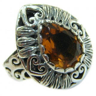 Natural Champagne Topaz .925 Sterling Silver handcrafted Ring s. 8