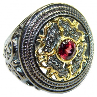 Genuine Garnet 18K Gold over .925 Sterling Silver handmade Cocktail Ring s. 6