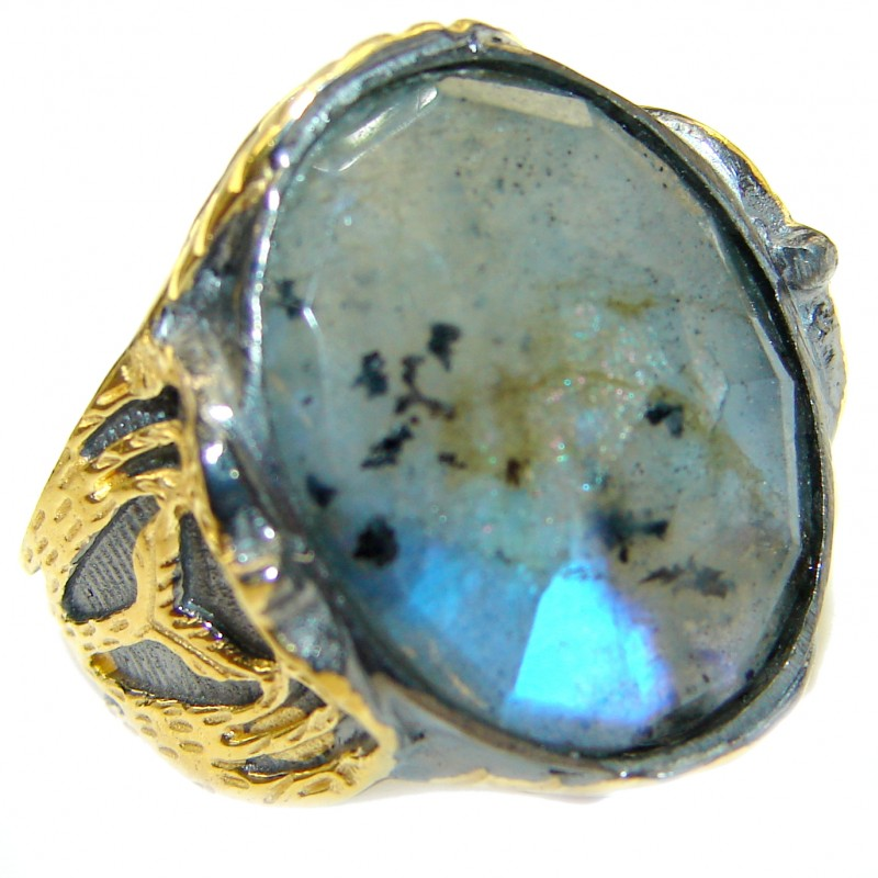 Infinity Labradorite 18K Gold over .925 Sterling Silver ITALY handmade ring size 8