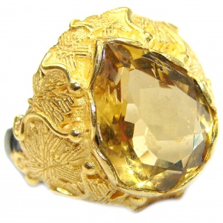 Baroque Style Natural Citrine 14K Gold over .925 Sterling Silver handcrafted Ring s. 8 1/4