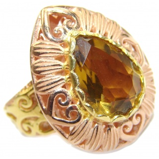 Natural Champagne Topaz 14K Gold over .925 Sterling Silver handcrafted Ring s. 7 1/4