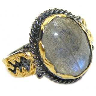 Labradorite 18K Gold over .925 Sterling Silver ITALY handmade ring size 8