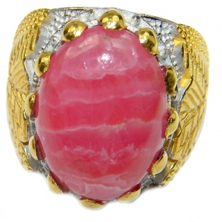 Argentinian Rhodochrosite 14K Gold over .925 Sterling Silver handmade ring size 7 1/4