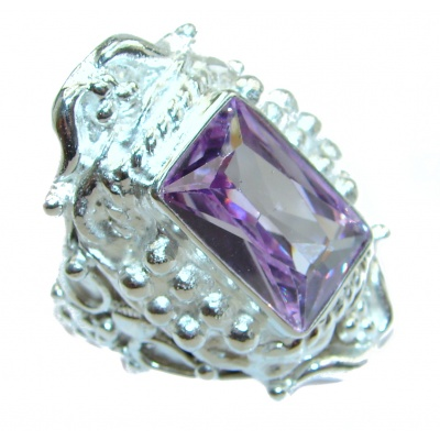 Ultra Fancy Cubic Zirconia .925 Sterling Silver Cocktail ring s. 9 1/4