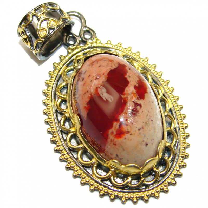 Vinateg Design Natural Mexican Fire Opal 14K Gold over .925 Sterling Silver handmade Pendant
