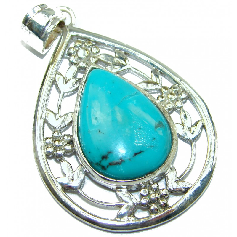 Exquisite Beauty Turquoise .925 Sterling Silver handmade Pendant
