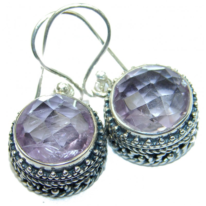 Vintage Design Authentic Amethyst .925 Sterling Silver handmade earrings