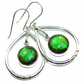 Green Aura AAA+Canadian Fire Ammolite Sterling Silver handmade earrings