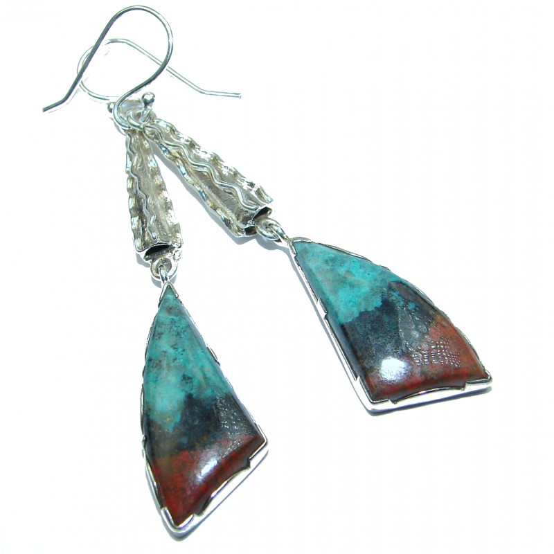 Huge Natural Sonora Jasper .925 Sterling Silver handcrafted Earrings