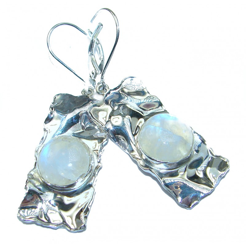 Large Modern Design White Moonstone hammered .925 Sterling Silver earrings