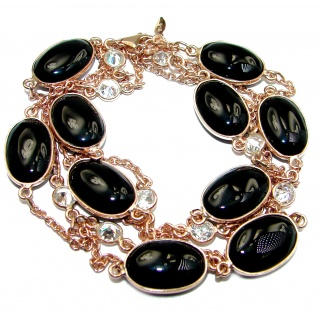 36 inches Genuine Onyx Stones Rose Gold over .925 Sterling Silver handcrafted Station Necklace