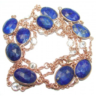 36 inches genuine Lapis Lazuli 14K Gold over .925 Sterling Silver Station Necklace