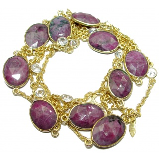 36 inches Genuine Ruby Stones 14K Gold over Sterling Silver handcrafted Station Necklace
