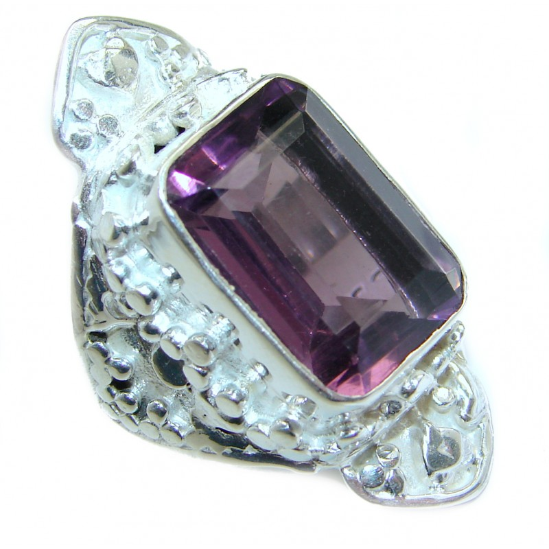 Ultra Fancy Cubic Zirconia .925 Sterling Silver Cocktail ring s. 8