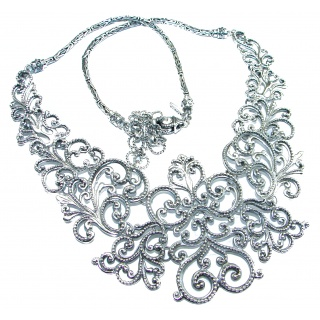 HUGE Rich Renaissance Design best quality .925 Sterling Silver handmade necklace