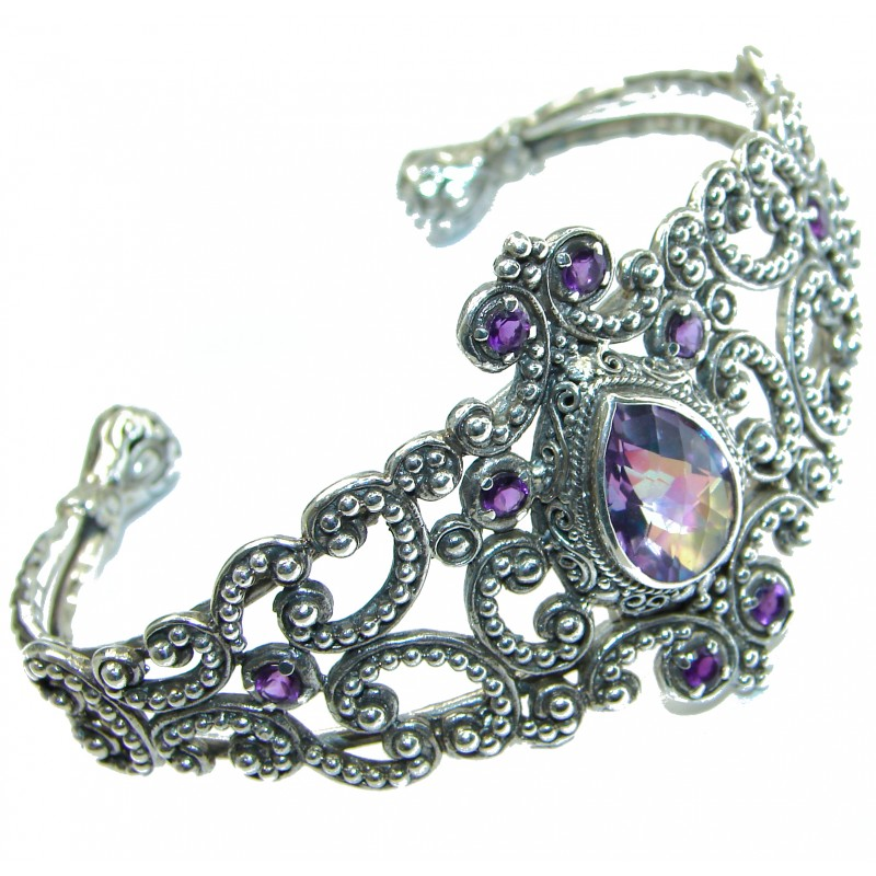 Chunky Luxury Purple Magic Topaz .925 Sterling Silver handmade Cuff/Bracelet