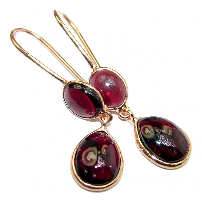 Authentic genuine Garnet 18k Gold over .925 Sterling Silver handmade earrings